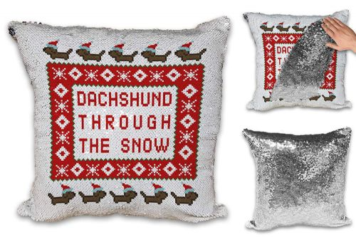 Dachshund Through The Snow Novelty Sequin Reveal Magic Cushion Cove